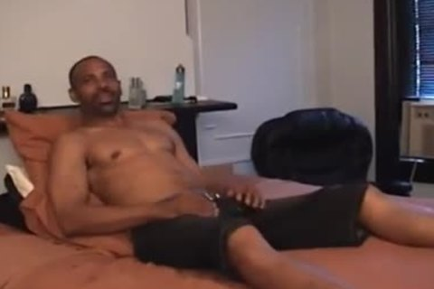Super cute black daddy undresss Off And Jerks his Monster black dong
