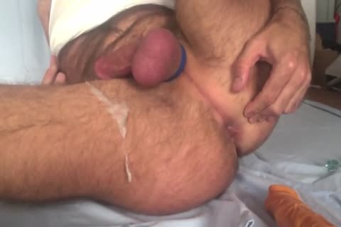 Showing My Freshly hairless Balls And hole whilst Playing With My butthole Beads And 8-inch vibrator. Great sperm shot All Over My bushy Legs At The E