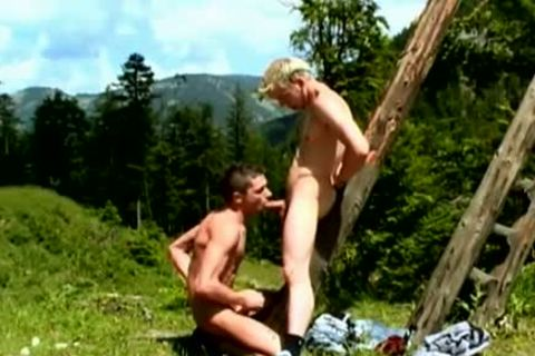 Raunchy twinks Outdoor blowjob-stimulation And ass job