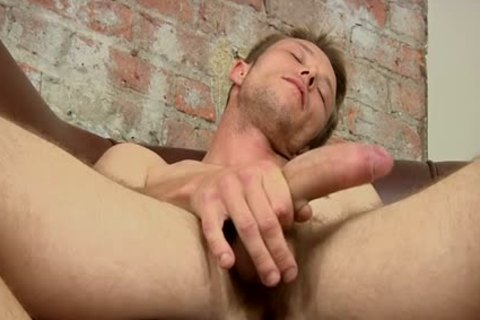 A enjoyable Hunky recent homosexual chap wanking A Immense powerful ramrod To sperm Blast