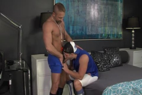Muscly Young Hung Oversexed gay cock Rides The Dilf coach In His Pooter