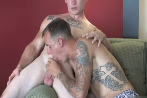 Tattoo Military threesome With cumshot