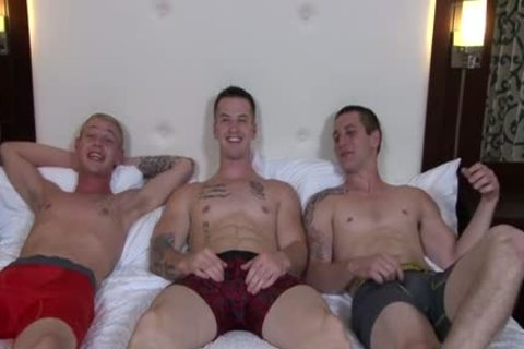 sleazy homosexual trio And cumshot