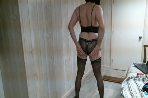 Crossdresser Trying On pants two, Finishing With fake penis