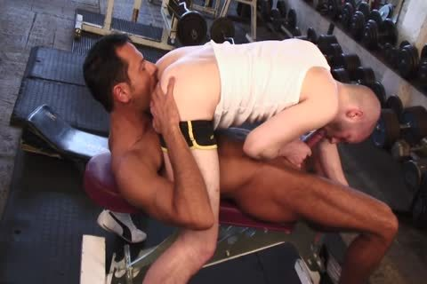 Tanned Lad Nails enjoyable Lad's butt opening In The Gym