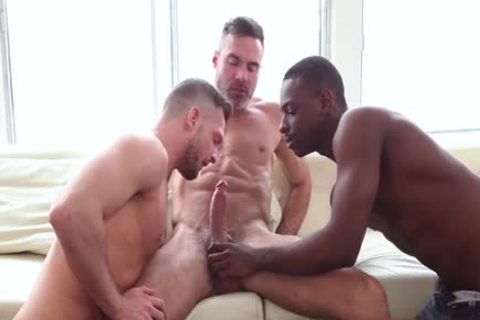 large cock Son threesome With cumshot