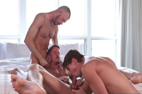 large jock gay three-some With Facial