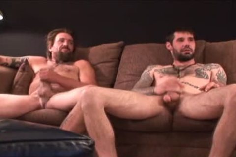 two rough hairy Straight Redneck Stroking jointly